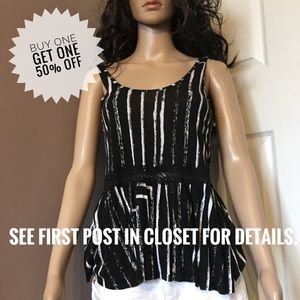 PACSUN Black & white abstract striped tanktop lace